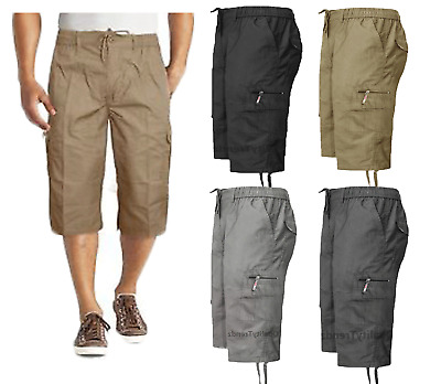 Mens New Elasticated Waist Cotton Cargo Combat 3/4 Long Knee Length Shorts Pants