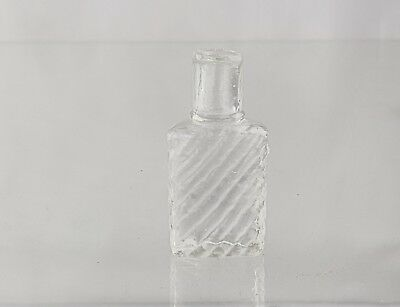 Antique Poison Bottle Clear Glass Diagonal Ribs, Ampule style top