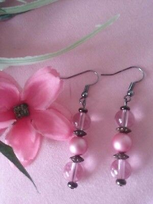 Handcrafted VALENTINE'S GIFT PINK & Bronze Glass BEADED EARRINGS Ladies JEWELRY