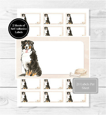 Bernese Mountain Dog Self Adhesive Stickers, Blank For AddressLabels/Gift Tags