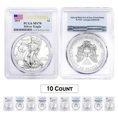 Lot of 10 - 2019 1 oz Silver American Eagle $1 Coin PCGS MS 70 FS (Flag Label)