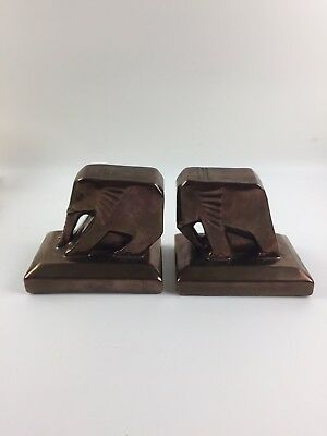 Rare Cowan Pottery Push Pull Elephant Bookends in Bronze Glaze - lot 1066