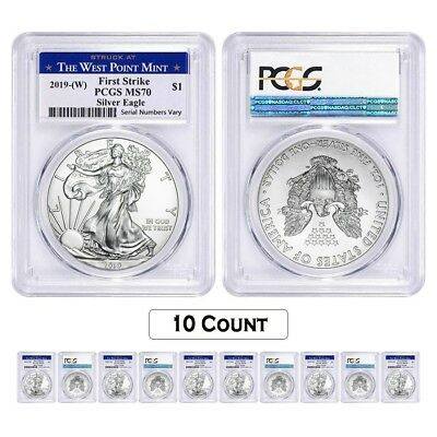 Lot of 10 - 2019 (W) 1 oz Silver American Eagle $1 PCGS MS 70 FS (West Point)
