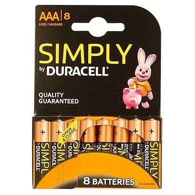 Duracell Simply Alkaline Pack of 8 AAA Batteries - MN2400B8SIMPLY