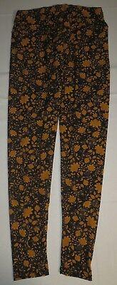 Womens LuLaRoe Leggings Vintage Floral Black Gray Mustard Gold Vine Tall Curvy