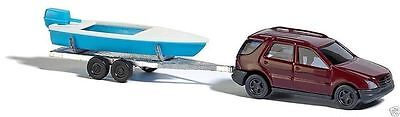 Busch Mercedes M class with boat and trailer spur N 1/160