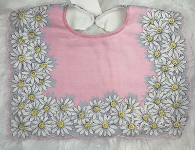MILLIE PINK GREEN VINTAGE EMBROIDED COTTON BABY INFANT BIB Set of 2 **NEW**