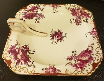 Small Vintage Moriyama Mori-Machi Japan Dish hand painted Plum floral gold trim