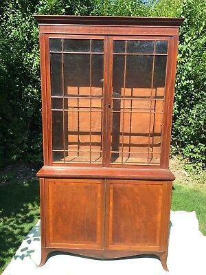 Antique bookcase and cupboards unique inlay style good condition