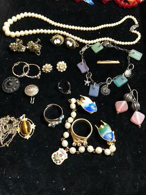 Antique Lot Of Rings Necklace Earrings Sweater Clip Sterling Bracelet Buttons