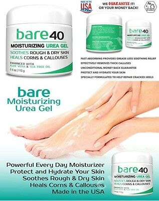 BARE UREA 40% Moisturizing Gel For Dry Skin Corn Calluses Aloe Tea Tree Oil 4oz