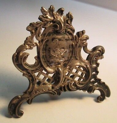 Victorian Silverplate Ornate Place Card Holder, Swan Engraving