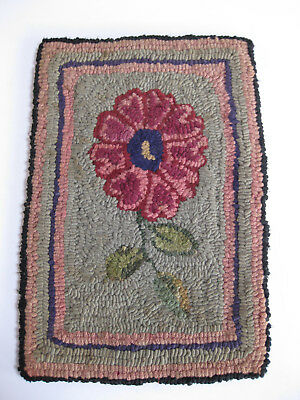 Antique Small Hand Made Folk Art Hooked Rug or Chair Cover With Daisy Flower