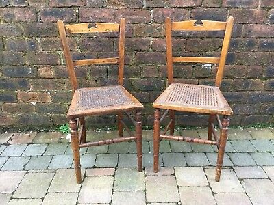 Pair Antique Bedroom Wooden Turned Legs Chairs With Rattan Seats