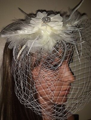 "Ivory birdcage 10"" veil with feather diamante flower detail headband. Fascinator"