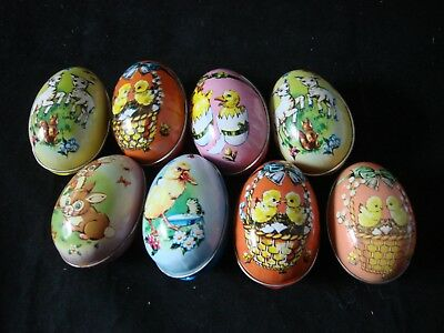 Vintage Lithographed Tin Easter Egg Candy Container Lot of 8
