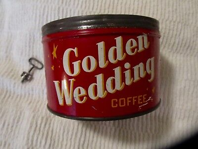 VTG Golden Wedding Coffee Can 1 Lb Tin w/ Opening Key No Lid Collectible