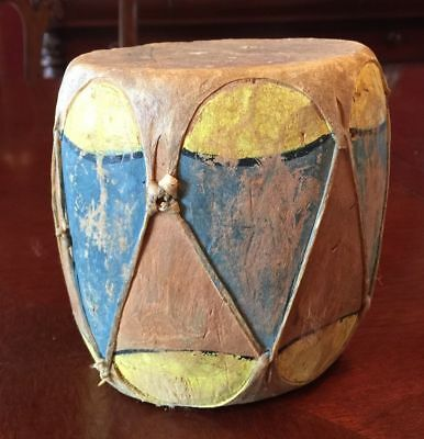 Old VTG Native American COCHITI PUEBLO Painted Wood Rawhide Drum