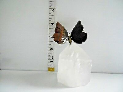 Hand-carved Brazilian STONE BUTTERFLY made from crystal and various other semi-p