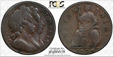GREAT BRITAIN. William III and Mary CU Farthing, 1694