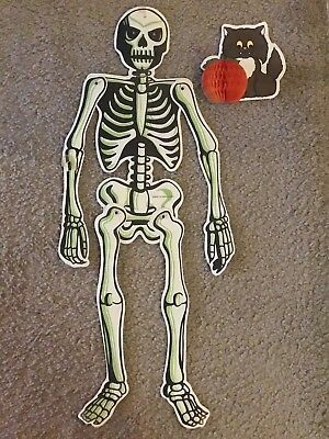 Vintage Halloween Beistle Skeleton Die Cut Honeycomb Angry Cat Pumpkin Set