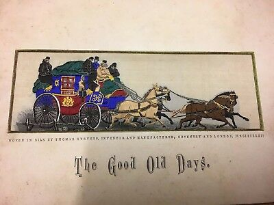 Original Stevengraph (by Stevens) Silk Picture 'The Good Old Days' Coaching