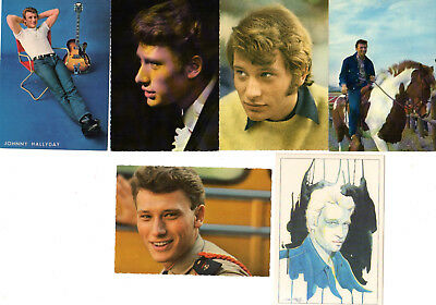 Lot de 6 Cartes postales Johnny Hallyday années 60 Philips Dalix Idoles
