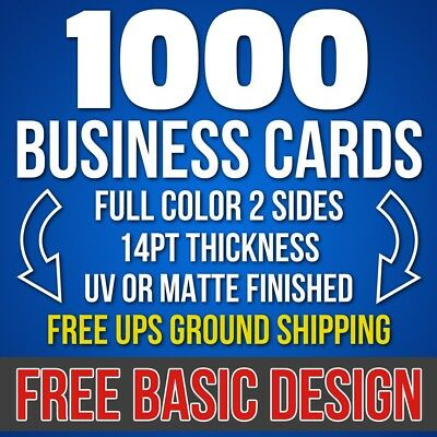 1000 Full Color 2-Sides Business Cards Free Basic Design Free UPS Ground