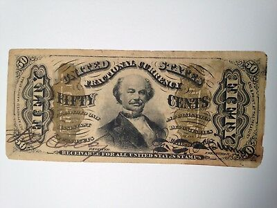 FR 1324 Francis Spinner 50 cent SIGNED Fractional Currency Note