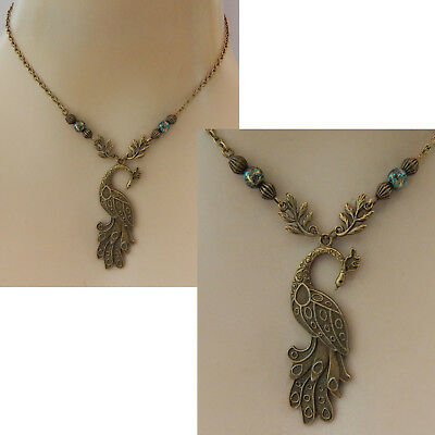 Peacock Necklace Gold Pendant Jewelry Handmade NEW Fashion Accessories Chain