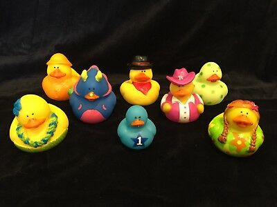 Rubber Duck Collection Lot of 8 Items Cowboy, Dinosaur, Hippie, Hula, Raincoat