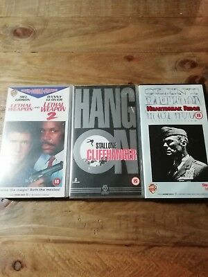 VHS ACTION MOVIES ~ Lethal Weapon 1&2 Cliffhanger Heartbreak Ridge