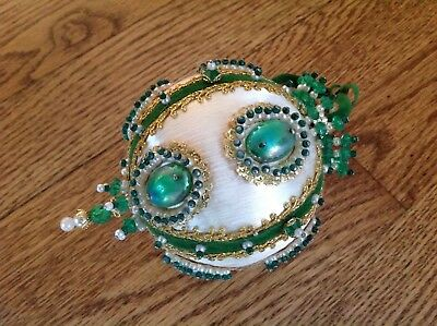 Vintage Hand Decorated Satin White Christmas Ornament  Pearls Green Beads Jewels