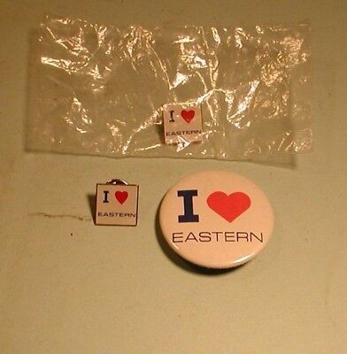 """1970's  """" I Love Eastern  """" Eastern Airlines Pinback Pins &"""