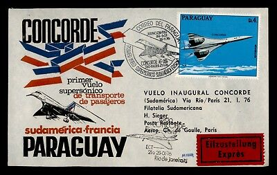 Dr Who 1976 Paraguay To France Concorde First Flight C69087