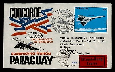 Dr Who 1976 Paraguay To France Concorde First Flight C69088