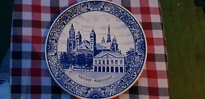 "11.8"" Vintage Dutch Plate Wall Charger Delft Blue &White of Vrijthof Maastricht"