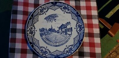 "11.6"" Vintage Dutch Plate Wall Charger Delft Blue &White of a Dutch Village"