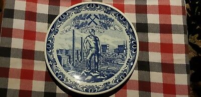 "9"" Vintage Dutch Plate Dish  Wall Charger Delft Blue - Staatsmijn Maurits -"