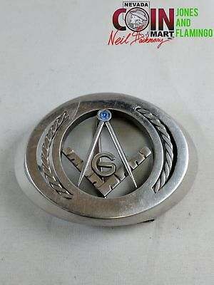 Beautiful Steel Freemasons Blue Stone Belt Buckle  #23004