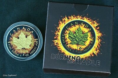 "2016 - ""Burning Maple "" 1oz .9999 silver coin with gold & ruthenium plating."