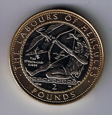 1999 Gibraltar £2 Two Pounds coin : Labours of Hercules - The Stymphalian Birds