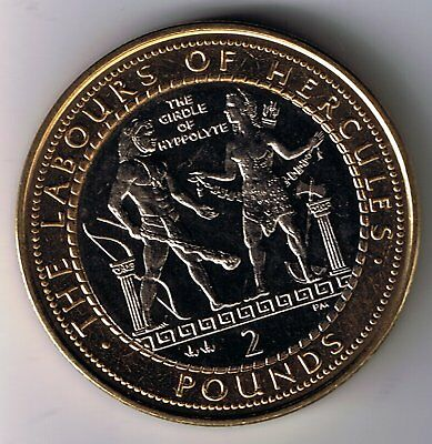 2000 Gibraltar £2 Two Pounds coin : Labours of Hercules :The Girdle of Hippolyta