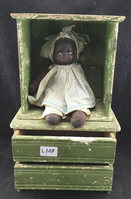 Antique Doll Dresser with Antique African American Doll