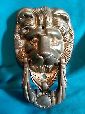 Vintage Solid Brass Lion Head Door Knocker~Great Shape Nice Patina!