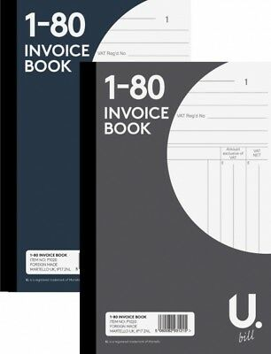 "Invoice Book 5"" x 8""  Duplicate Receipt Book Numbered Cash 1-80 Pages Pad"