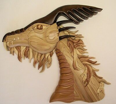 "Dragon Wavy Brd/mne, 20"" X 17"", Intarsia wood art Original"