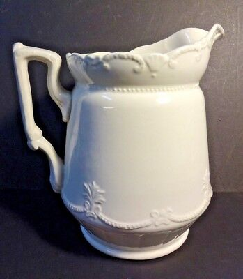 Antique White Ironstone Pitcher Made By Anchor Pottery Trenton NJ No Damage