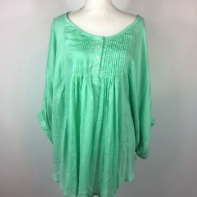 Lane Bryant Light Green Pleated Henley Top Womens Plus Size 22/24 Batwing