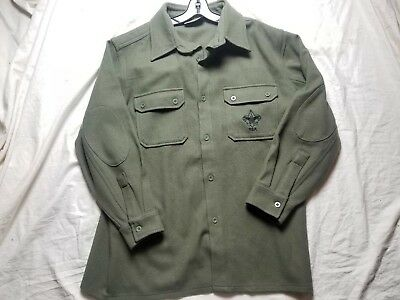 Boy Scouts of America BSA Olive Green Wool Jac-shirt Jacket DISCONTINUED LARGE